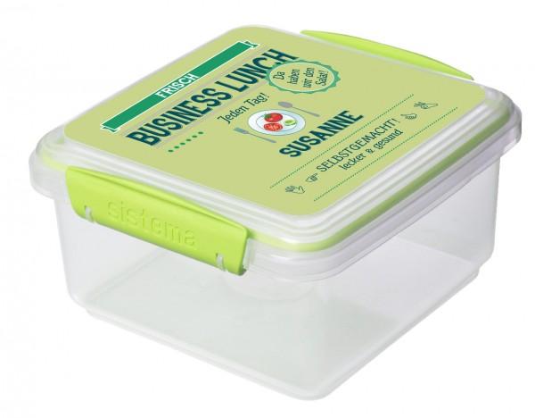 Snackpack basic mit Motiv Business in grün mit Namen