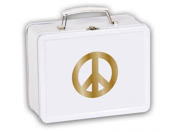 Kinderkoffer mit Motiv Peace in Gold