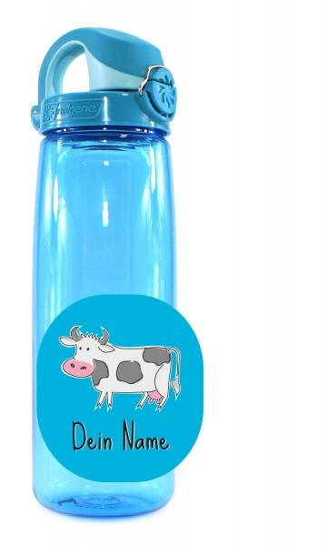 Trinkflasche blau mit Motiv Kuh mit Namen