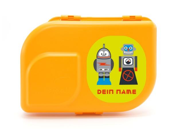NaNa Bio-Brotdose mandarin mit Motiv Robot Gang mit Namen