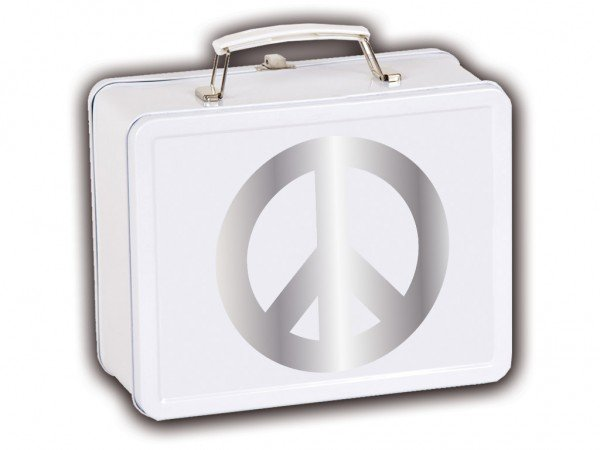 Kinderkoffer mit Motiv Peace in Silber